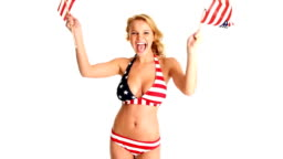 HD: Sexy Young Woman Waving American Flags