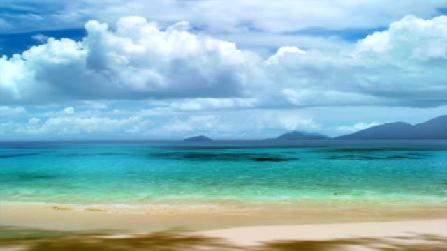 Seychelles seascape. Clouds time lapse
