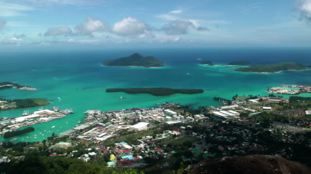 seychelles view from mountain - seychelles stock videos & royalty-free footage