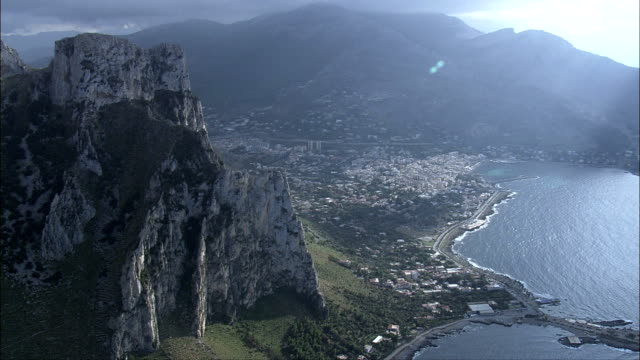 sferracavallo  - aerial view - sicily, province of palermo, palermo, italy - sicily stock videos and b-roll footage