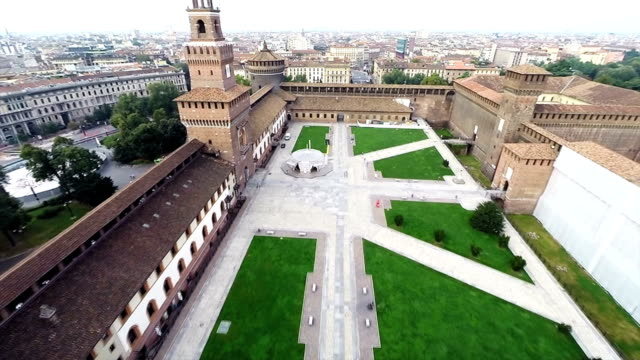 Sforzesco castle drone video
