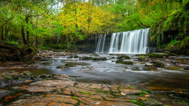 sgwd ddwli uchaf (upper gushing falls) in wales - time lapse tracking shot - natural parkland stock videos & royalty-free footage