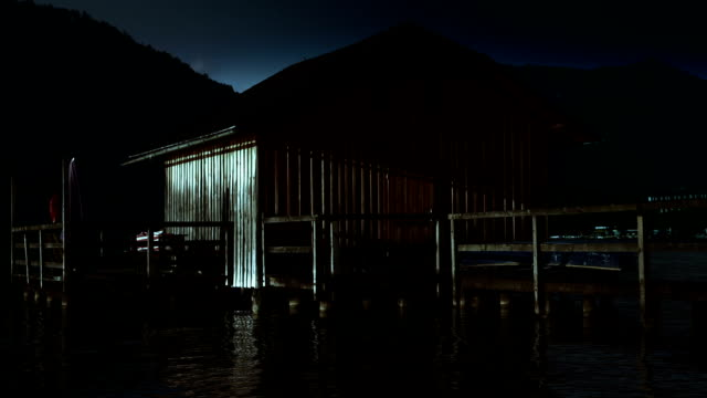 hd - shack on lake, night - hut stock videos & royalty-free footage
