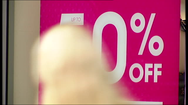"shadow chancellor calls for cut in vat / high street sales figures in decline; various shots of shoppers along in high street close up of ""50% off""... - vat stock videos & royalty-free footage"