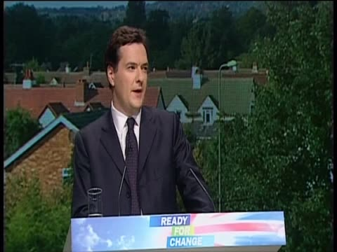 shadow chancellor of the exchequer george osborne states that the conservative party will 'preserve child benefit' a statement he later reversed - chancellor of the exchequer stock videos and b-roll footage