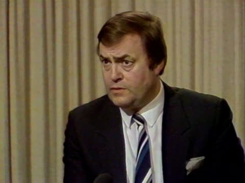 shadow energy secretary, john prescott, talks about safety cutbacks in the oil industry, in light of the piper alpha disaster. - alpha cell stock videos & royalty-free footage