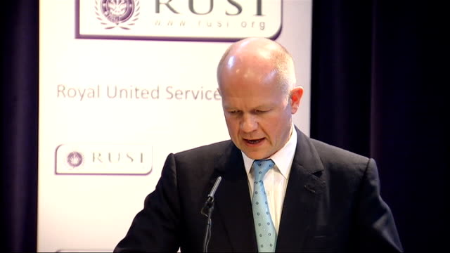 shadow foreign secretary william hague speech on foreign policy; william hague speech continues sot - my view is that british government is not... - human interest stock videos & royalty-free footage