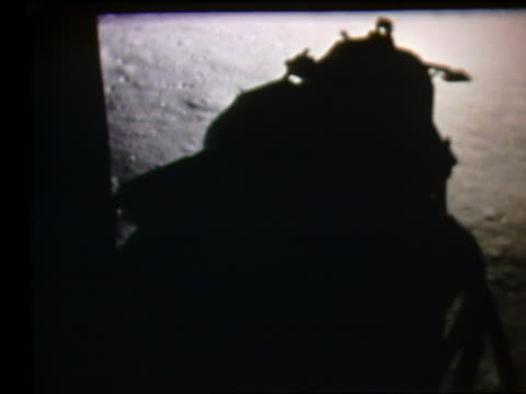 shadow of lunar lander on moon surface - 1969年点の映像素材/bロール