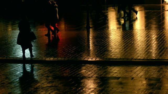 Shadow of people, Lights reflection, Paving, Night