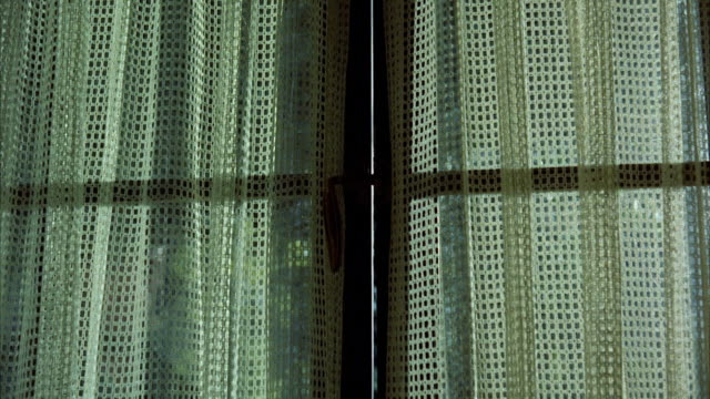 CU Shadow of prowler appearing behind curtains french doors