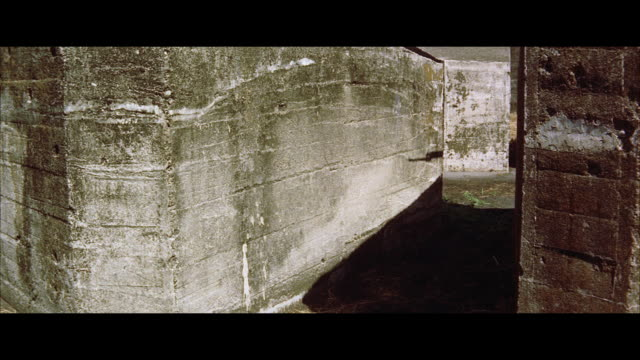 vidéos et rushes de ms  shadow of soldier with bayonet rifle appears on cement wall - baïonnette