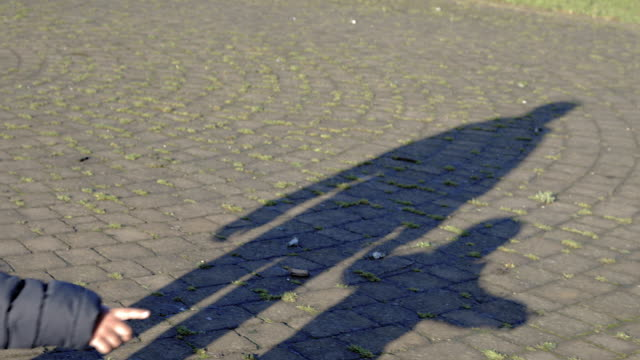 Shadow on ground of Dad and son holding hands walking, boy pointing.