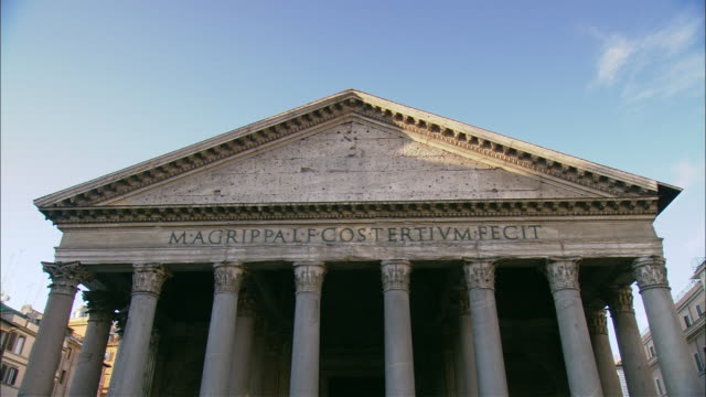 shadows cover the portico of the pantheon in rome. - temple building stock videos & royalty-free footage