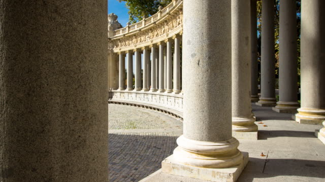 stockvideo's en b-roll-footage met schaduwen in retiro park - time lapse - architectonische zuil