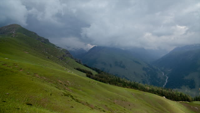 Shadows moving over the mountain meadows of Manali