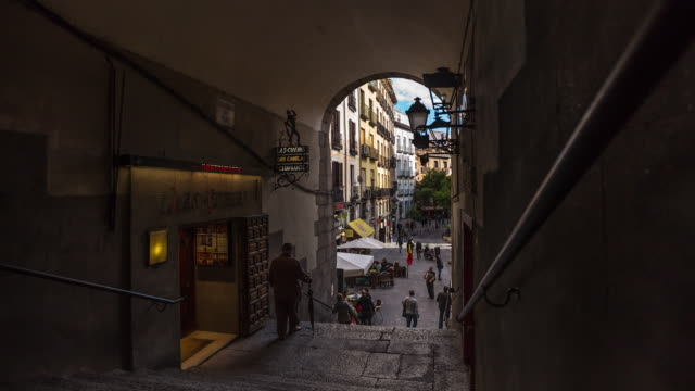 shadowy restaurants and outdoor cafés, madrid - timelapse - madrid stock videos & royalty-free footage