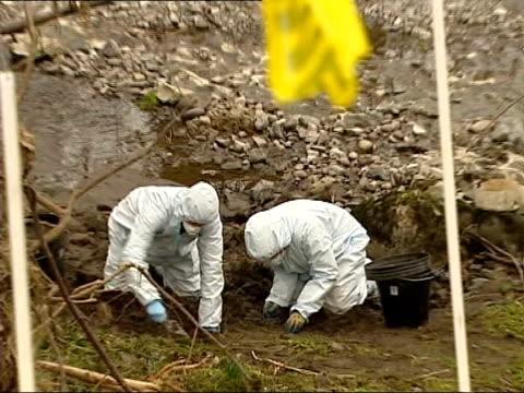 vídeos de stock e filmes b-roll de parents interview; lib cumbria: river kent: ext forensic investigators searching river bank where shafilea's body found - encontrar