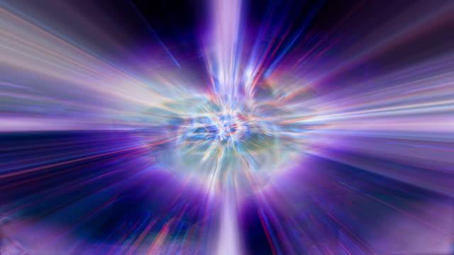 vídeos de stock e filmes b-roll de shafts of fractal light shimmer and shine. - fundir técnica de vídeo