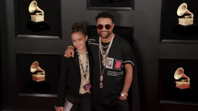 shaggy and sydney burrell at the 61st grammy awards - arrivals at staples center on february 10, 2019 in los angeles, california - editorial use only - 歌手 シャギー点の映像素材/bロール