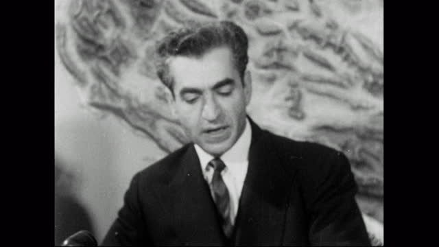shah mohammad reza pahlavi speaking about iranian oil production and using the revenue to fuel economic growth in iran; 1957. - middle east stock videos & royalty-free footage