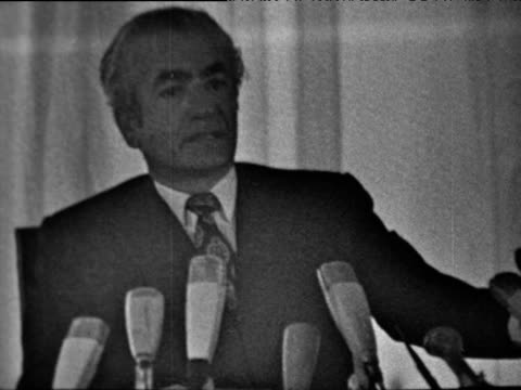 Shah Mohammed Reza Pahlavi of Iran gives statement on oil ownership at OPEC conference Tehran 25 Jan 71