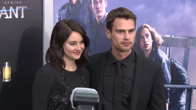 shailene woodley theo james at allegiant new york premiere at amc loews lincoln square 13 theater on march 14 2016 in new york city - amc loews stock videos and b-roll footage