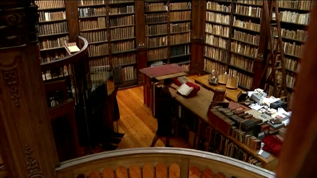 shakespeare first folio discovered in small town library france saintomer int librarian taking book off shelf in library remy cordonnier carrying... - ladder stock videos & royalty-free footage