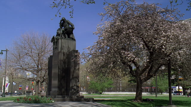pan shakespeare memorial statue and facade of the central library / philadelphia, pennsylvania, united states - logan circle stock videos and b-roll footage