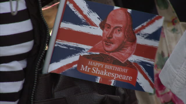 shakespeare plays in more than 50 languages that is what is promised by the world shakespeare festival the global event began today in the bard's... - william shakespeare stock videos and b-roll footage