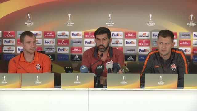 Shakhtar Donetsk's head coach Paulo Fonseca and defender Olexandr Kucher attend a press conference a day before the UEFA Europa League Group H soccer...