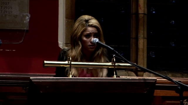 shakira addresses oxford union shakira speech continued sot this is about investing in human potential / could bring enormous benefits to all kind /... - shakira stock videos and b-roll footage