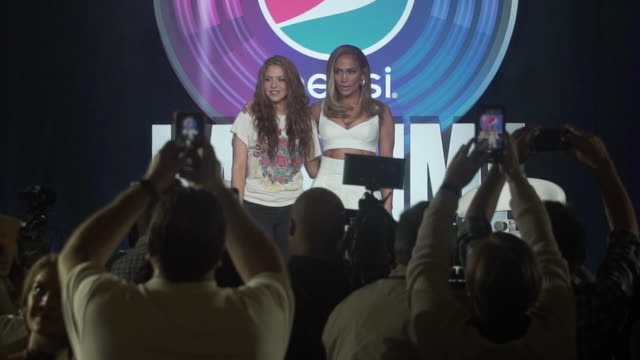 shakira and jennifer lopez at the pepsi super bowl liv halftime show press conference at hilton miami downtown on january 30 2020 in miami florida - shakira stock videos & royalty-free footage
