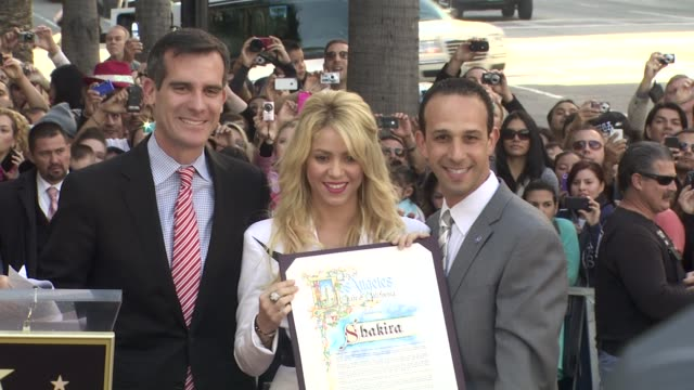 shakira at the shakira honored with star on the hollywood walk of fame at hollywood ca - shakira stock videos and b-roll footage