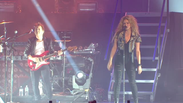 performance shakira at tmobile launches unlimited global data at special event featuring shakira in nyc's bryant park at bryant park on october 09... - shakira stock videos & royalty-free footage