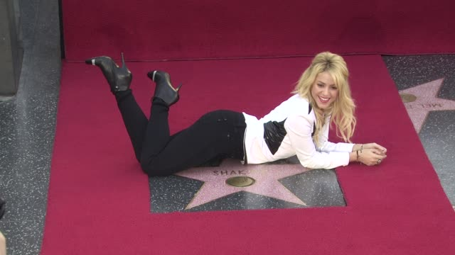 shakira honored with star on the hollywood walk of fame hollywood ca united states 11/08/11 - shakira stock videos and b-roll footage