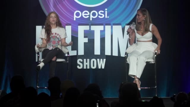 shakira on the performance, importance of diversity and excitement to be in miami at the pepsi super bowl liv halftime show press conference at... - performing arts event stock videos & royalty-free footage