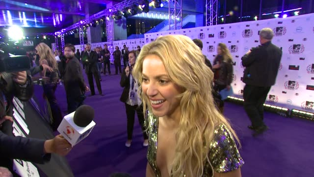 shakira on working with dizzee and being friends with eva longoria - shakira stock videos & royalty-free footage