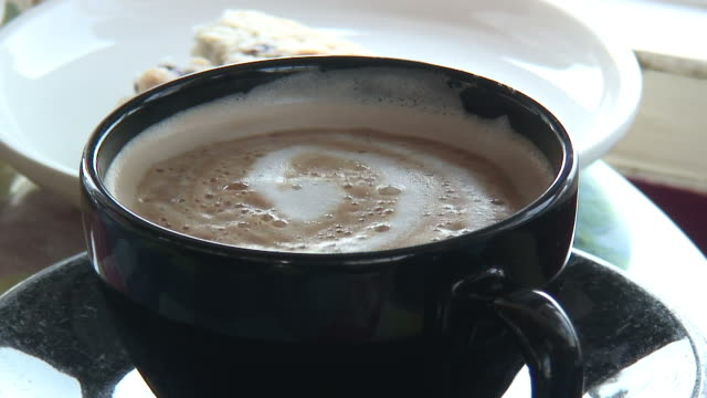 shaky cappuccino - hd 1080/60i - froth art stock videos and b-roll footage