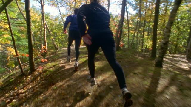 Shaky medium shot tracking shot rear view of couple trail running through woods / Bradbury Mountain, Maine