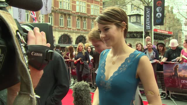shallene woodley on role hesitancy, character and upcoming roles at 'divergent' uk film premiere at odeon leicester square on march 30, 2014 in... - premiere stock videos & royalty-free footage
