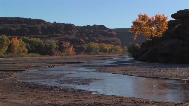 ws shallow river flowing through canyon/ canyon de chelly national monument, arizona - canyon de chelly stock videos & royalty-free footage