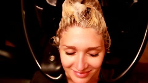shampoo overhead - wet hair stock videos & royalty-free footage