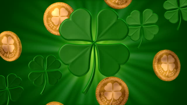 shamrocks and gold #1 (seamless) - st. patrick's day stock videos and b-roll footage