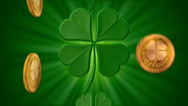 shamrocks and gold #3 (seamless) - st. patrick's day stock videos and b-roll footage