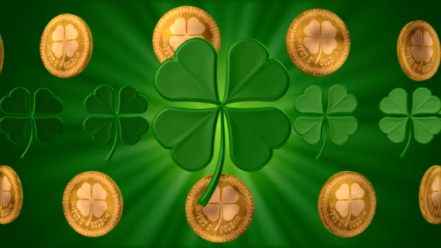 shamrocks and gold #2 (seamless) - st. patrick's day stock videos and b-roll footage
