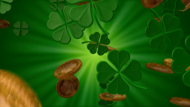 shamrocks and gold - st. patrick's day stock videos and b-roll footage
