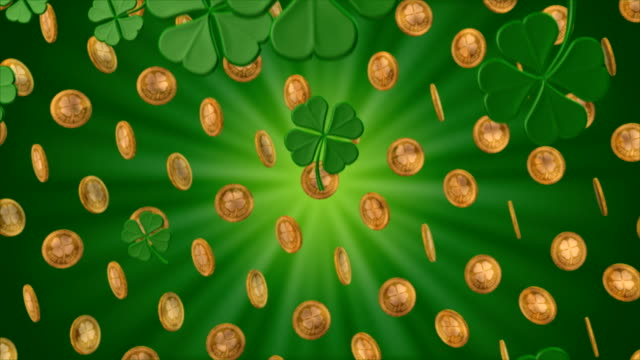 shamrocks snow and spinning gold coins - clover leaf shape stock videos and b-roll footage