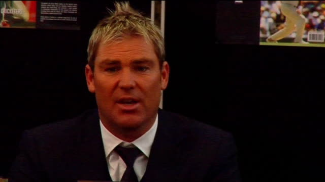 press conference and book signing Shane Warne press conference SOT On when he last bowled being retired time it took to become a better spin bowler...