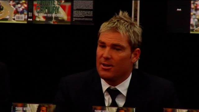press conference and book signing Shane Warne press conference SOT On Kevin Pietersen / England not performing in test cricket need winning momentum