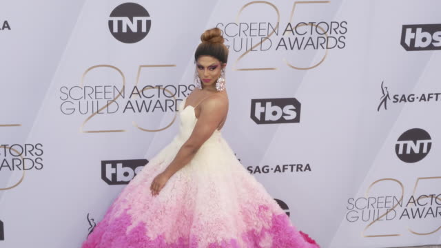 shangela pierce at the 25th annual screen actors guild awards at the shrine auditorium on january 27, 2019 in los angeles, california. - screen actors guild awards stock videos & royalty-free footage